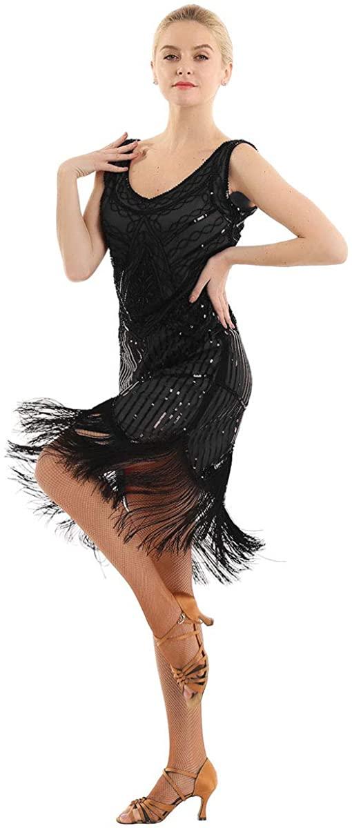 TiaoBug Women's 1920s Vintage V-Neck Flapper Fringe Beaded Great Gatsby Party Dress