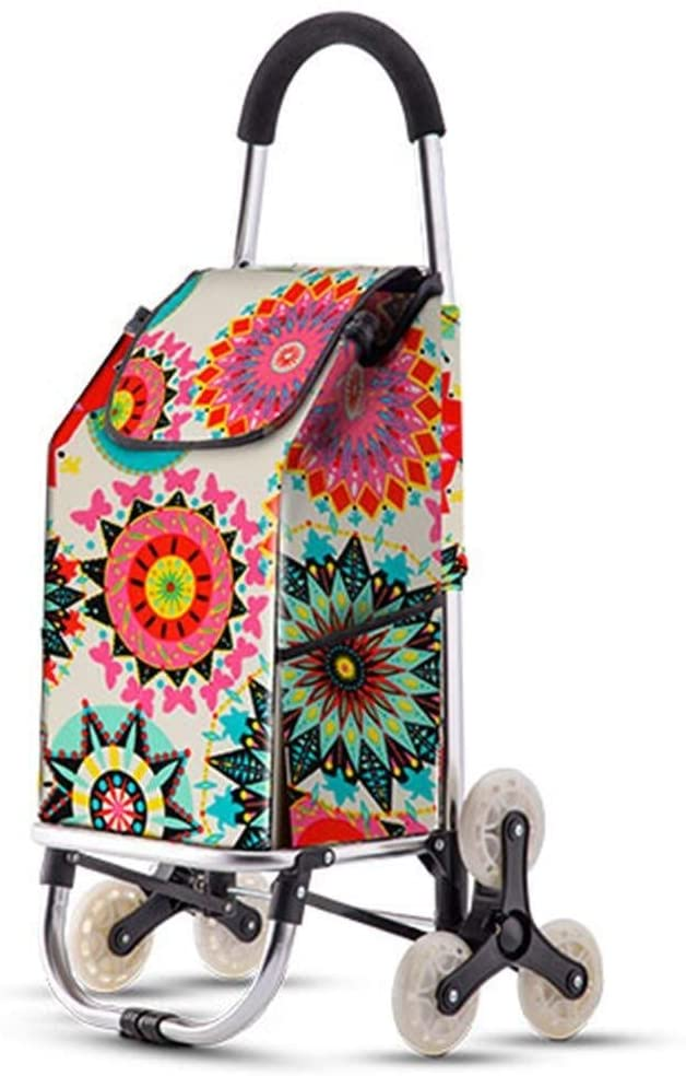 JN Shopping Trolley Bag Foldable Shopping cart, six-Wheeled Stair Shopping cart, Large-Capacity Multi-Purpose Luggage cart with Wheels, Elderly cart 40L Folding Trolley (Color : A)