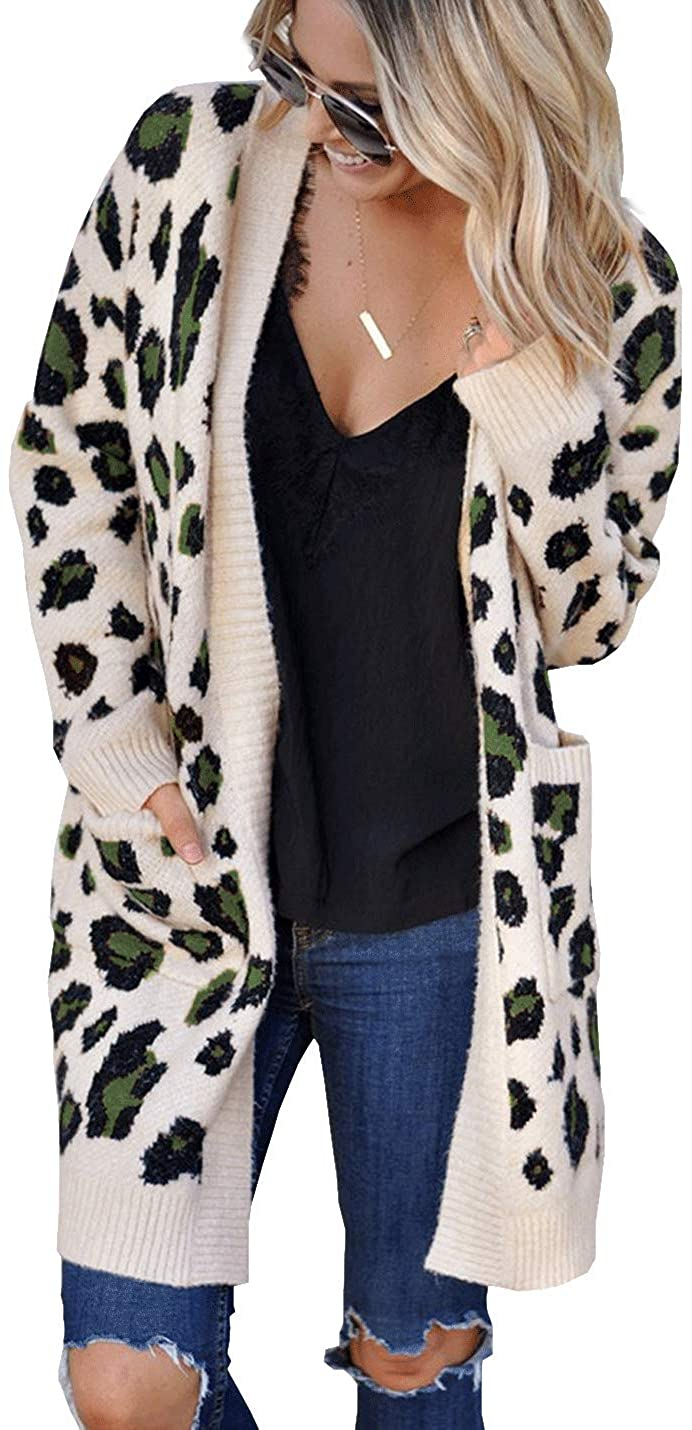 D.B.M Women's Fashion V-Neck Long Sleeve Leopard Knit Cardigan with Pockets