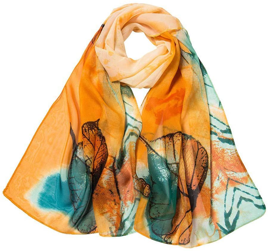 Maserfaliw Spring Lightweight Scarves, Fantasy Leaves Printing Women Shawl Wrap,Neck Scarf Head Hair Wraps for Mother's Gifts Orange
