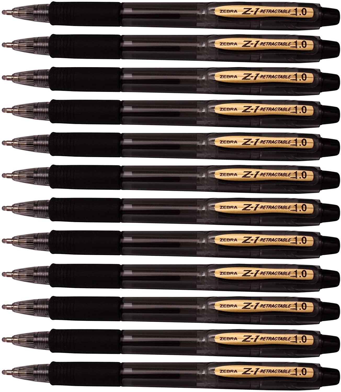 Zebra Z-1 Retractable Ballpoint Pen, 1.0 mm,smooth low viscosity ink (Pack of 12) (Black)