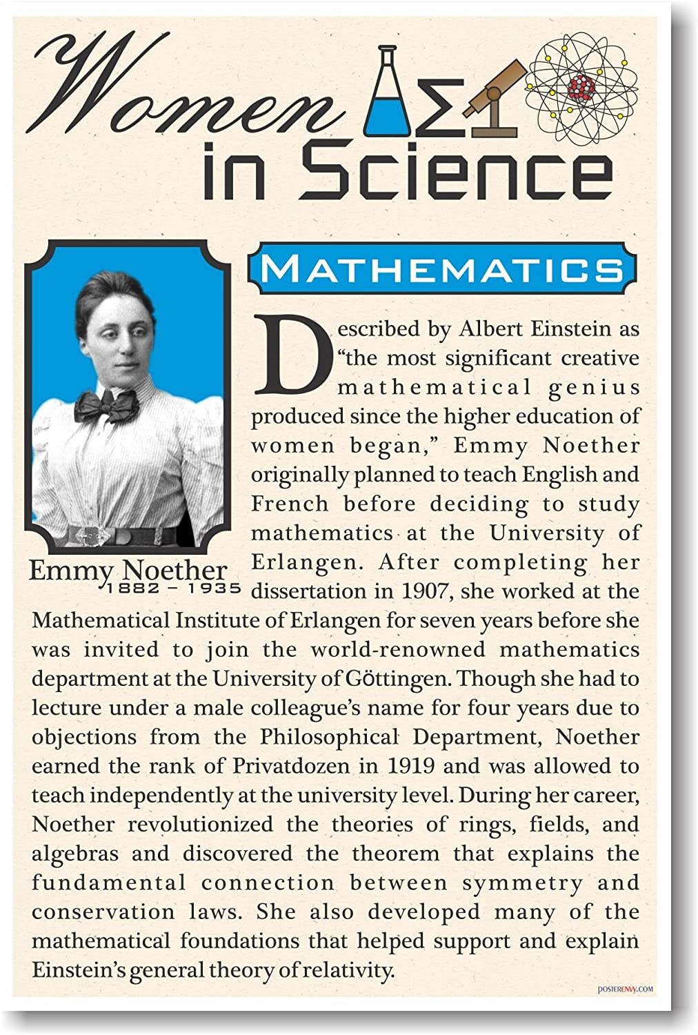 Emmy Noether - High School - NEW Famous Women Poster