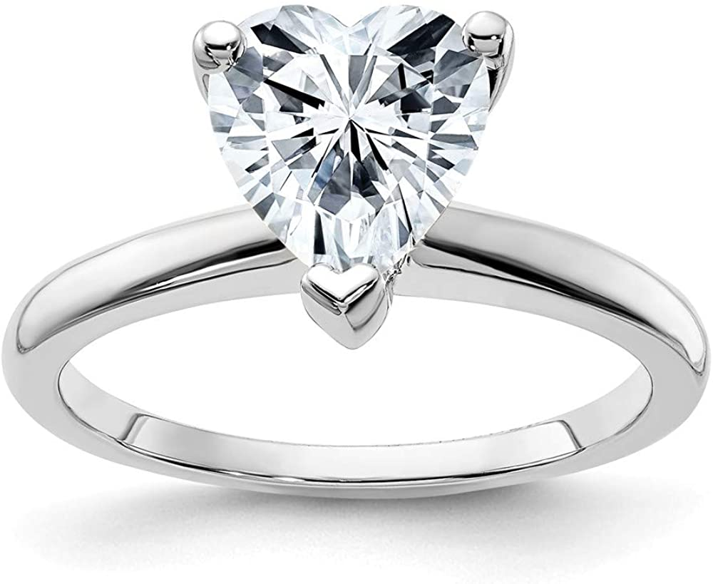 14k White Gold 8mm HEART Colorless Moissanite Solitaire Engagement Ring Size 9 (1.8 cttw.)