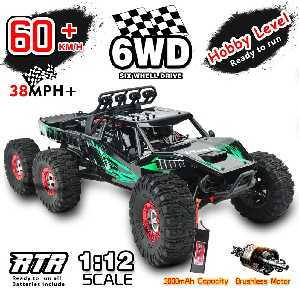 Gizmovine 6WD Hobby Remote Control Car Brushless RC Car 1:12 Scale 2.4GHZ Radio Controlled Electric Drift Racing Truck High Speed Rock Crawler Racing Electric Toy Car for Adults