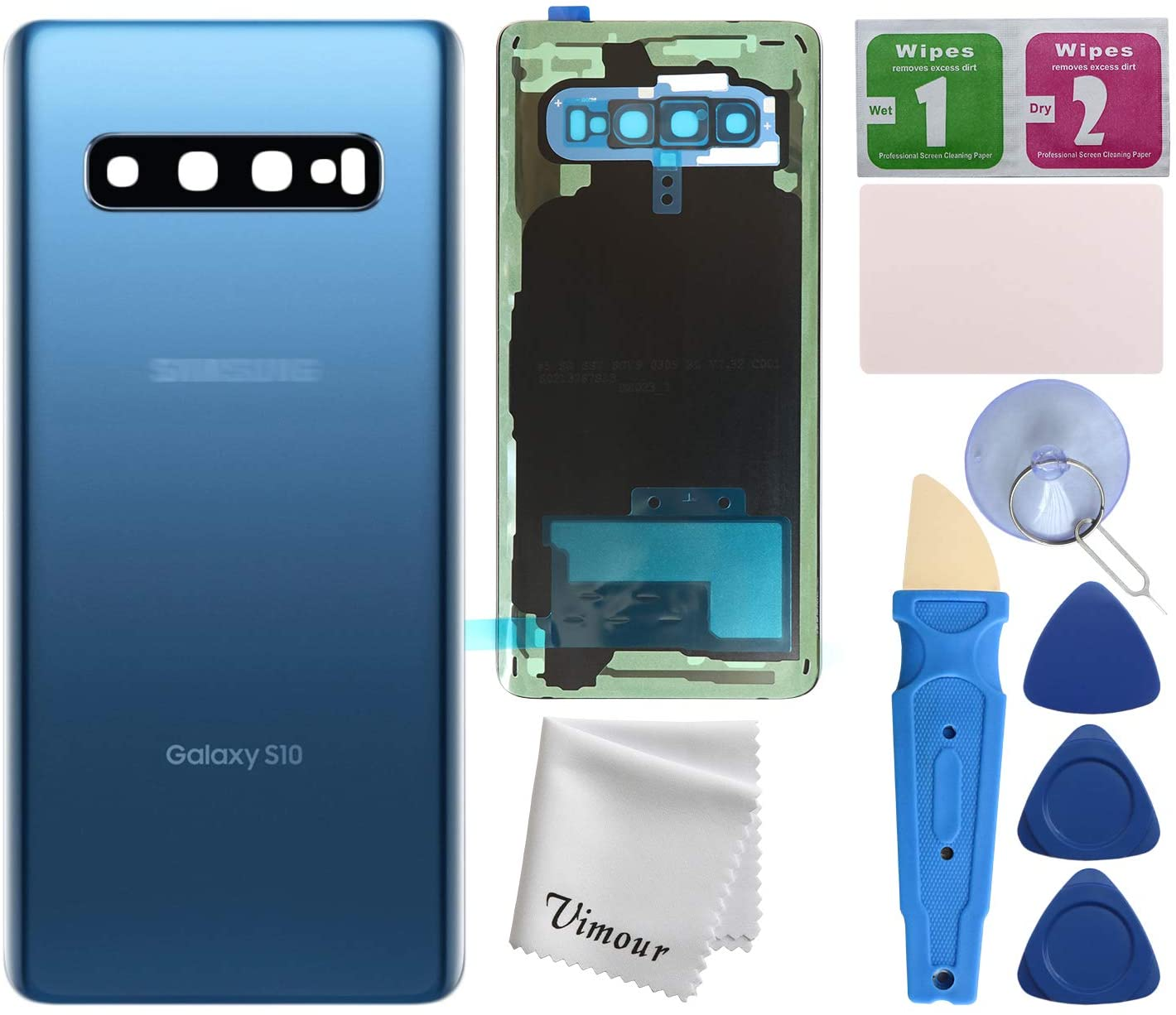 Vimour Back Cover Glass Replacement for Samsung Galaxy S10 G973U All Carriers with Pre-Installed Camera Lens, All The Adhesive and Professional Repair Tool Kits (Prism Blue)