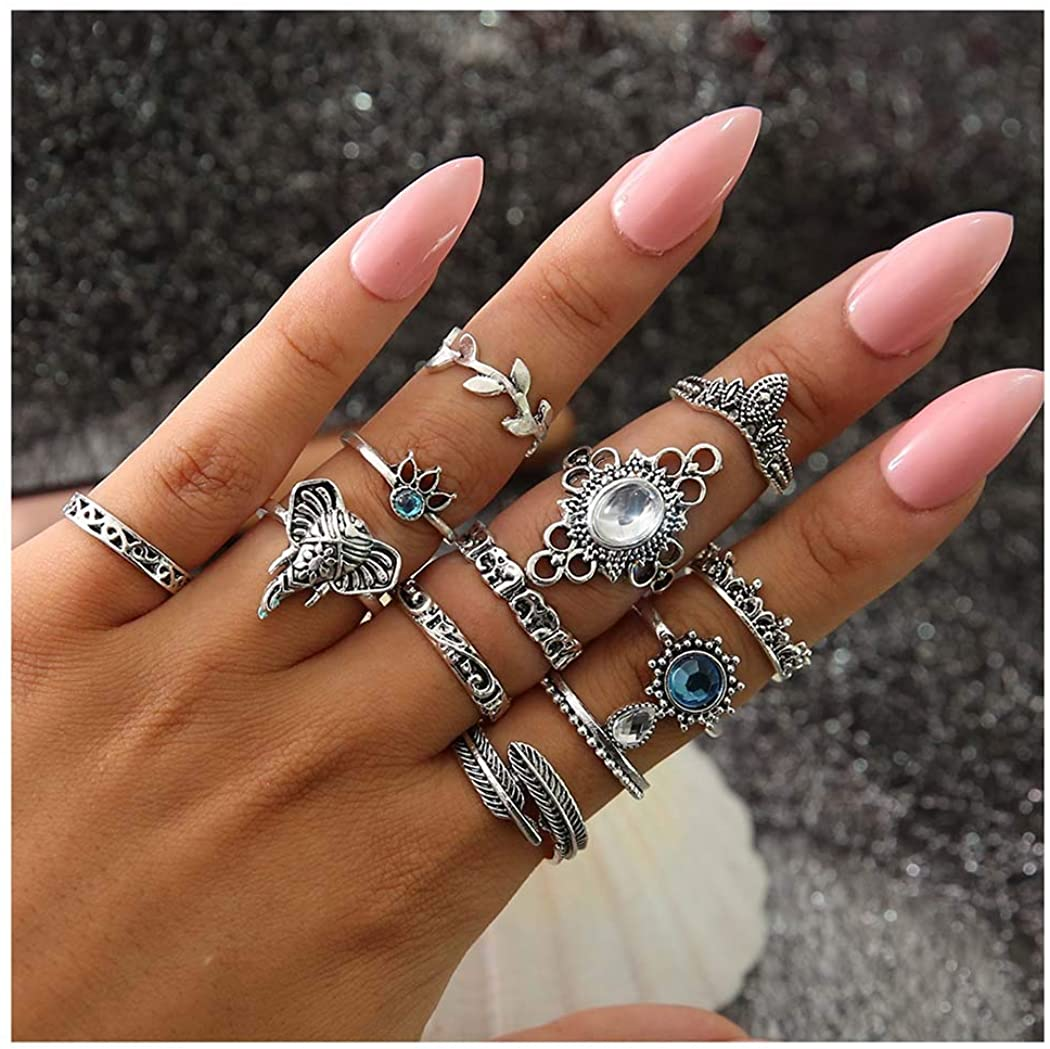 deladola Boho Ring Set Silver Sparkly Rhinestone Crystal Joint Knuckle Hand Rings Gemstone Hollow Stackable Midi Heart Snake Hand Jewelry for Women and Girls (12Pcs)