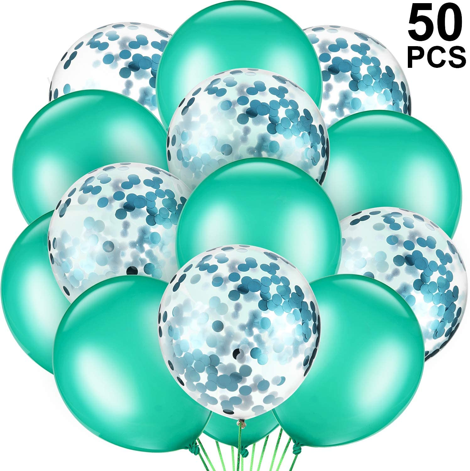 Gejoy 50 Pieces Metallic Teal Balloons Confetti Turquoise Balloons Latex Confetti Balloons with 64 ft Ribbons for Engagement Baby Shower Wedding Birthday Party Favors