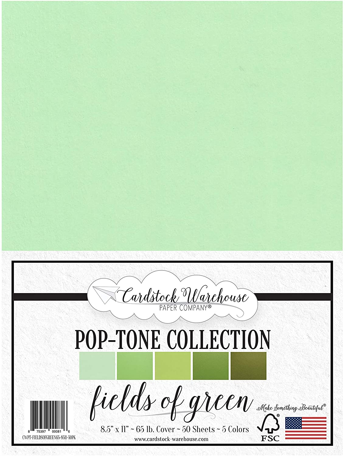 Fields of Green - Multi-Pack Assortment - 8.5 x 11 inch 65 lb Cover Cardstock - 50 Sheets from Cardstock Warehouse