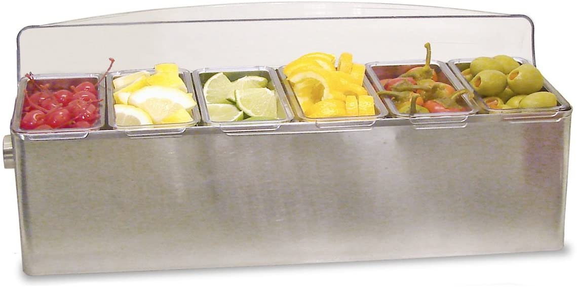 Co-Rect Stainless Steel Roll Top Condiment Holder, 6 quart