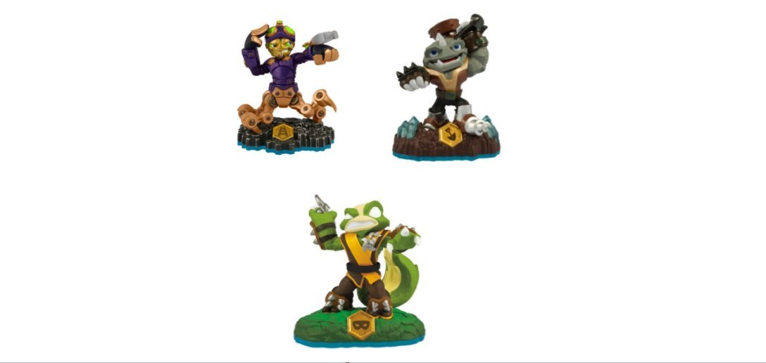 Skylanders Swap Force Action Figures Spy Rise, Rubble Rouser, and Stink Bomb