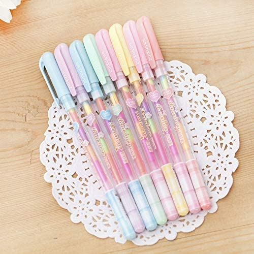 Jiali OfficeProducts School Office Supplies Stationery 2 PCS Creative Stationery Colour Fluorescent Pen Gel Pens Office School Supplies Writing Painting Pens, Random Color Delivery