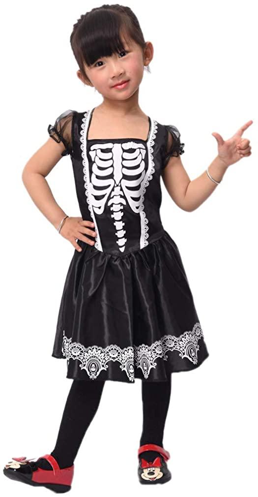 Aicker Girls Skull Bones Skeleton Costume - Black Fancy Kids Dress for Halloween Christmas Day of The Dead Cosplay Party