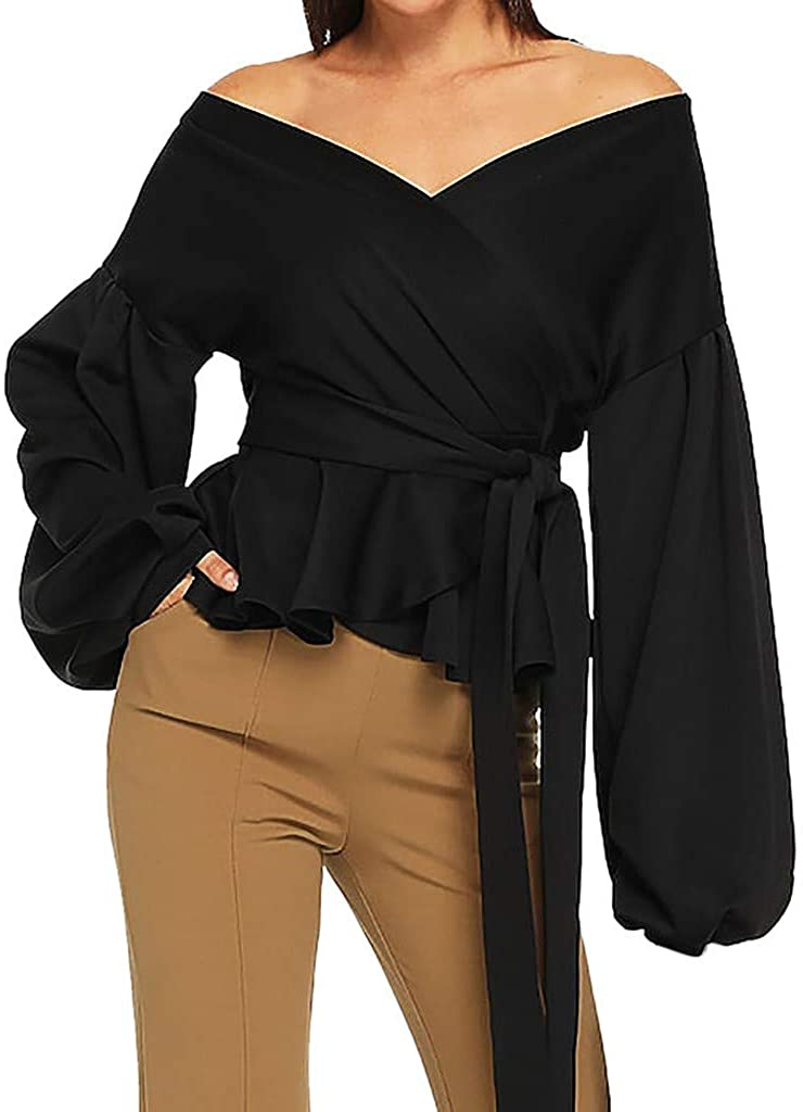 Kangma Women Fashion Long Sleeve Strapless V-Neck Lantern Sleeve Bow Belt Bandage Tops