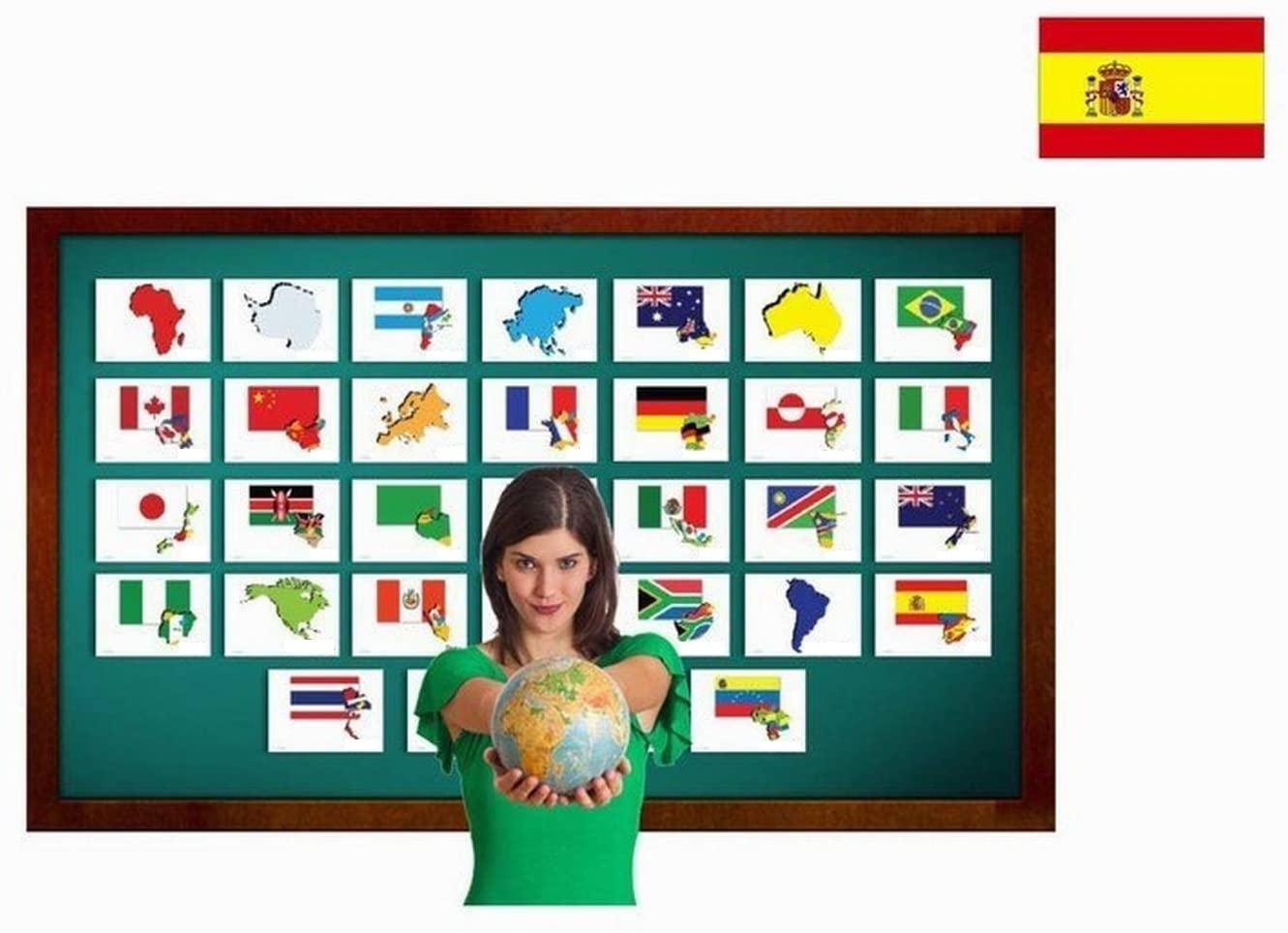 Tarjetas de vocabulario - Países y Banderas - Countries and Flags Flashcards in Spanish - Vocabulary Picture Cards for Language Learning