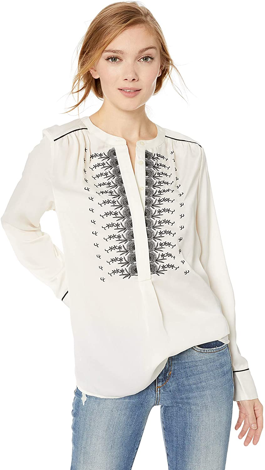 Lucky Brand Women's Satin Western Embroidered Shirt