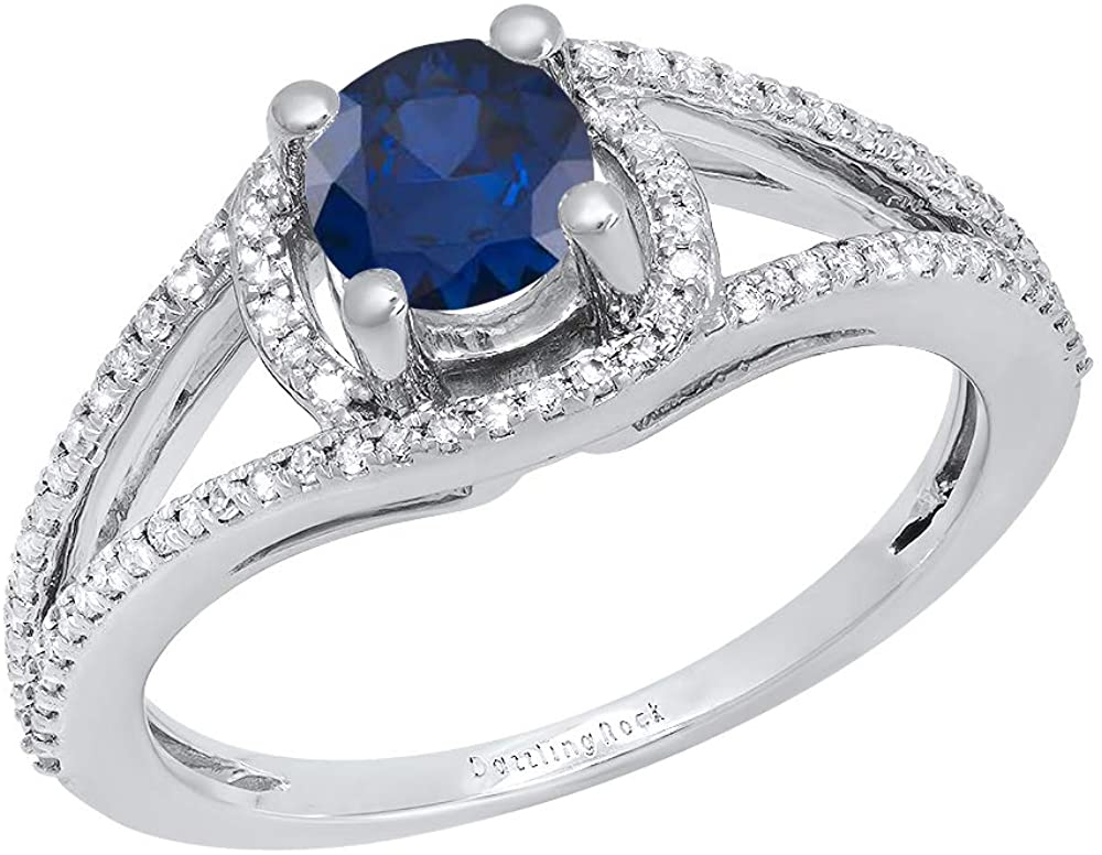 Dazzlingrock Collection 5.6 MM Round Gemstone & White Diamond Ladies Bridal Split Shank Engagement Ring, 10K White Gold