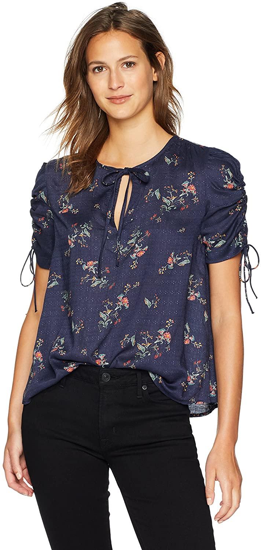 Lucky Brand Women's Puff Tie Sleeve Printed Top