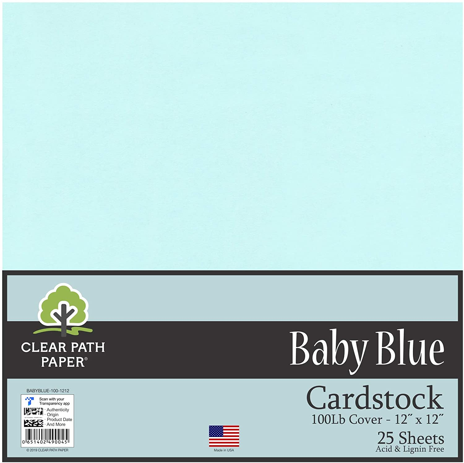 Baby Blue Cardstock - 12 x 12 inch - 100Lb Cover - 25 Sheets