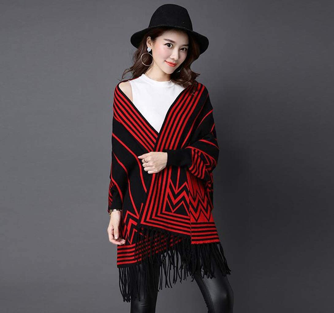 ZHLJ Womens Scarf Winter Thicken Warm Striped Hooded Cloak Korean Fringe Cloak Jacket Scarf (Color : B)