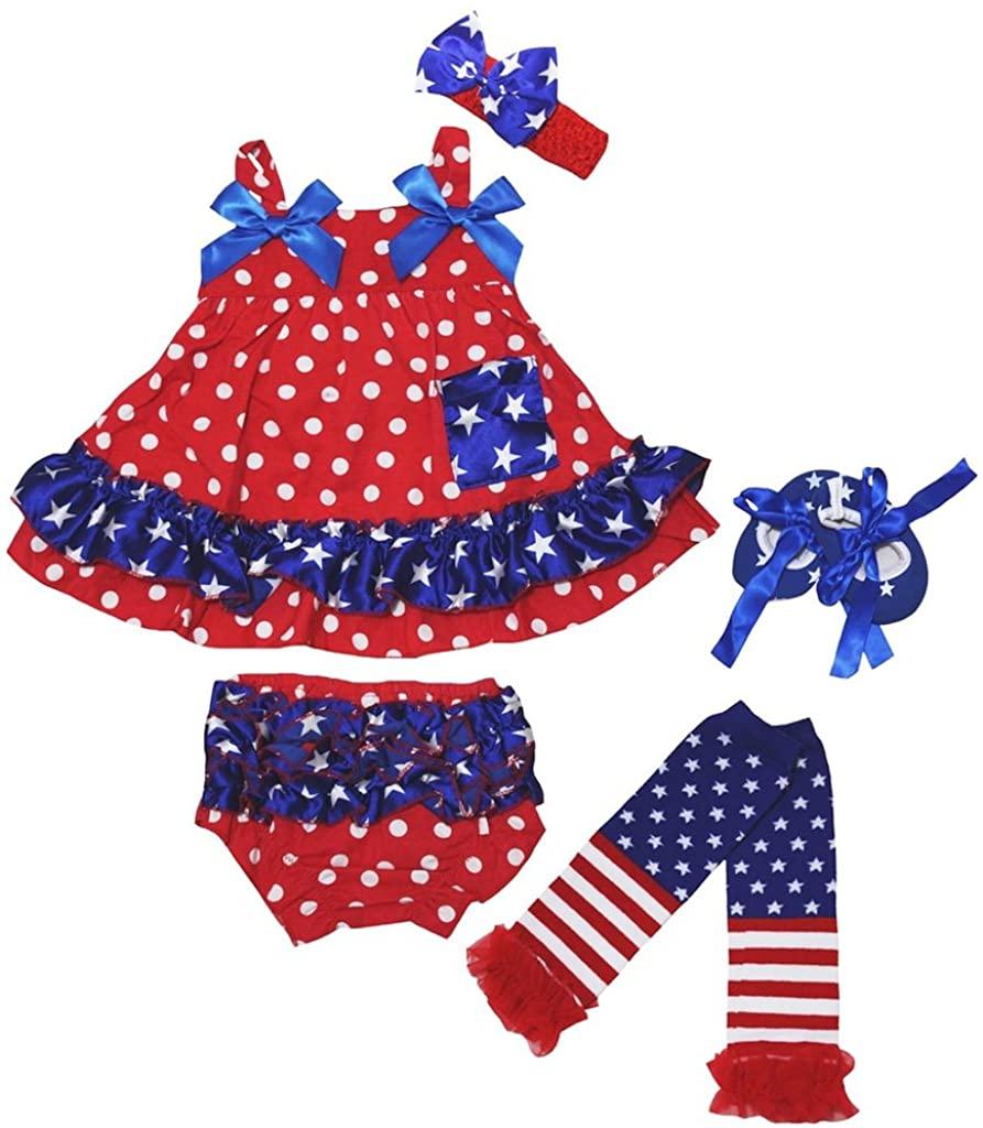 Petitebella 4th July Red Dots Stars Swing Top Bloomer Leg Warmer Shoes Nb-24m