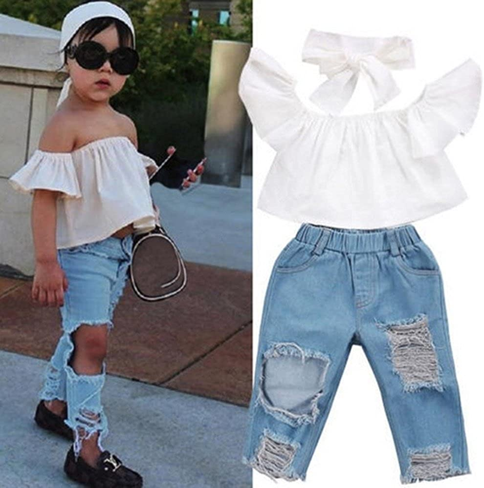 Eboss Baby Girls Off Shoulder Lotus Leaf Tops Headband Toddler Summer Children Broken Hole Pants Outfits