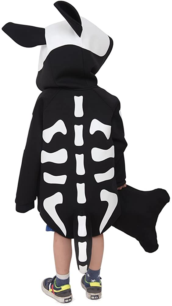Cosplay.fm Kids Skeleton Puppy Dog Halloween Costume Hoodie with Bone Pillow (Black)