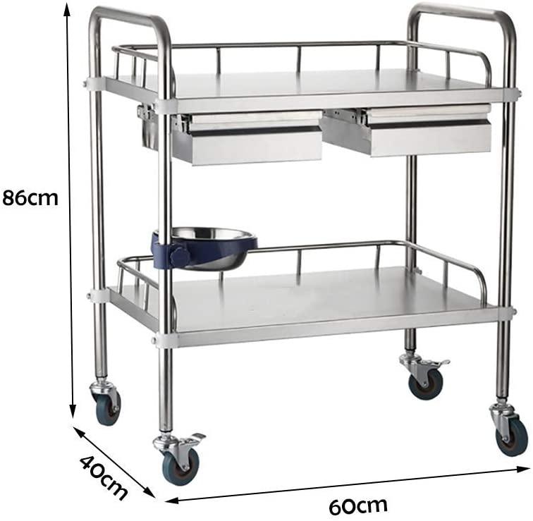 LHF Medical Supplies Rack,Hospital Trolley,Medical Cart Tool 2 Tier Beauty Salon Rolling Trolley, Drawers & Dirt Bucket, Hospital Stainless Steel Medical Utility Cart, 50 Kg Capacity, Universal Brake