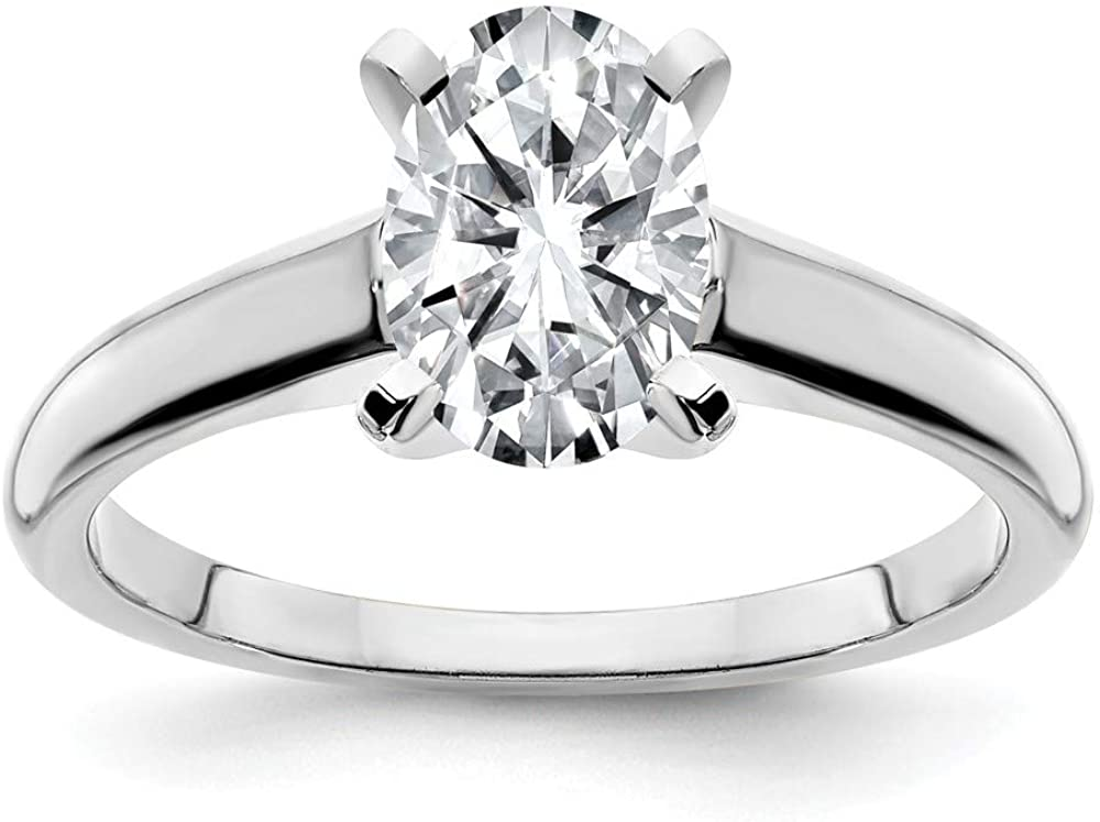 14k White Gold 8x6mm OVAL Moissanite Solitaire Engagement Ring Size 8 (1.5 cttw.)