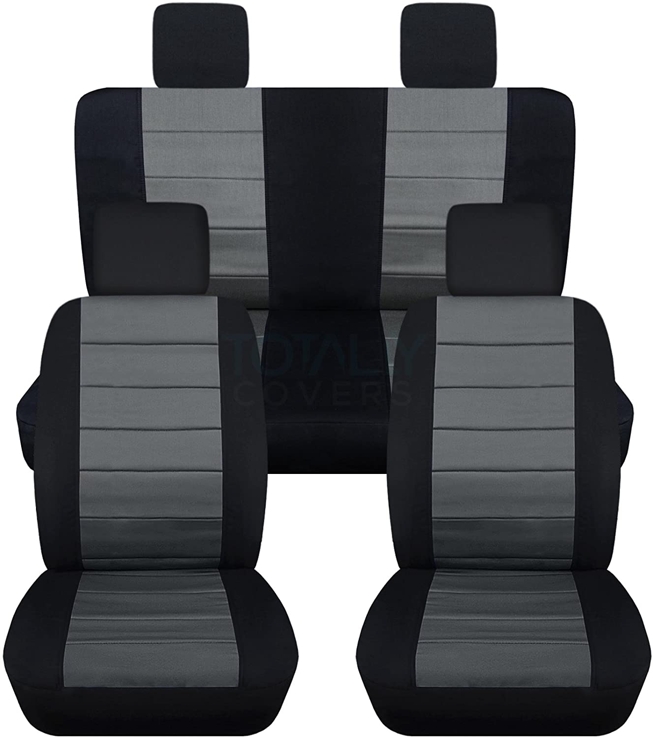 Totally Covers Compatible with 2007-2010 Jeep Wrangler JK Seat Covers: Black & Charcoal - Full Set: Front & Rear (23 Colors) 2-Door/4-Door Complete Back Solid/Split Bench