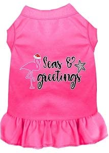 Mirage Pet Product Seas and Greetings Screen Print Dog Dress Bright Pink Med