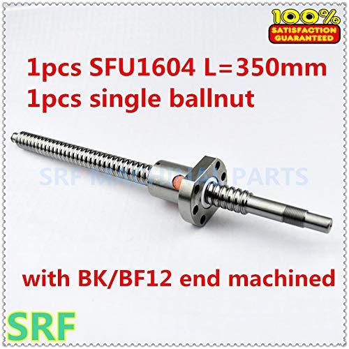 Ochoos 16mm RM1604 Ball Screw 1pcs SFU1604 L= 350mm C7 with SFU1604 Single ballnut for CNC and BK12 / BF12 Standard Processing