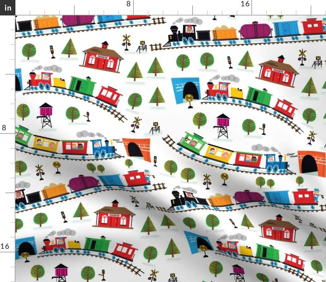 Spoonflower Fabric - Trains White Rainbow Nursery Train Railroad Baby Boy Girl Abstract Printed on Sport Lycra Fabric by The Yard - Swimwear Performance Leggings Apparel Fashion