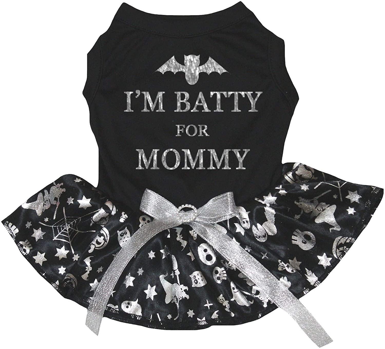 Petitebella I'm Batty for Mommy Black Shirt Silver Pumpkin Tutu Puppy Dog Dress
