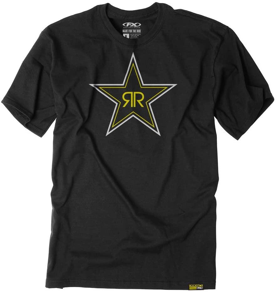 Factory Effex Unisex-Adult Rockstar Blackstar T-Shirt (Black, X-Large)