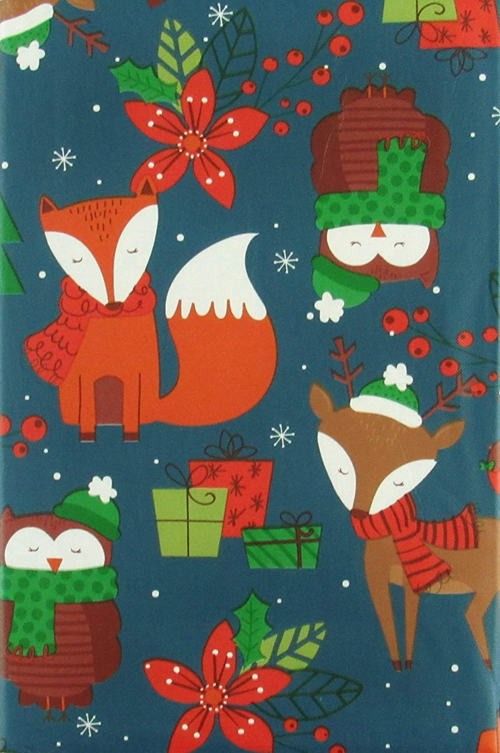 Happy Holiday Woodland Creatures Twilight Christmas Collection Vinyl Flannel Back Tablecloth (60