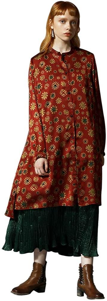 Women Button-Down Shirts Cardigans Long Sleeve Shirt Stand Collar Printing Button Retro Autumn Casual Top