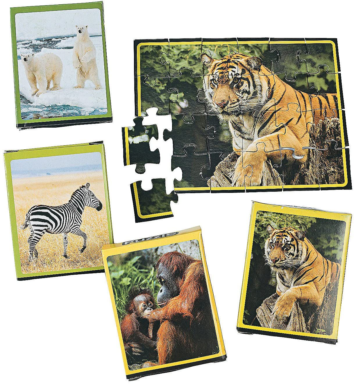 Fun Express Wildlife Animal Puzzles - 12 Pieces - Educational and Learning Activities for Kids