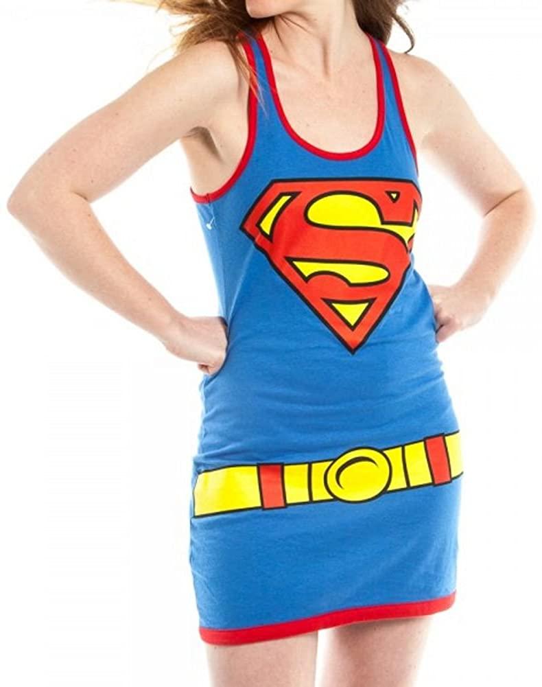 Superman Super Girl Costume Ladies Juniors Tank Dress T-Shirt Large blue