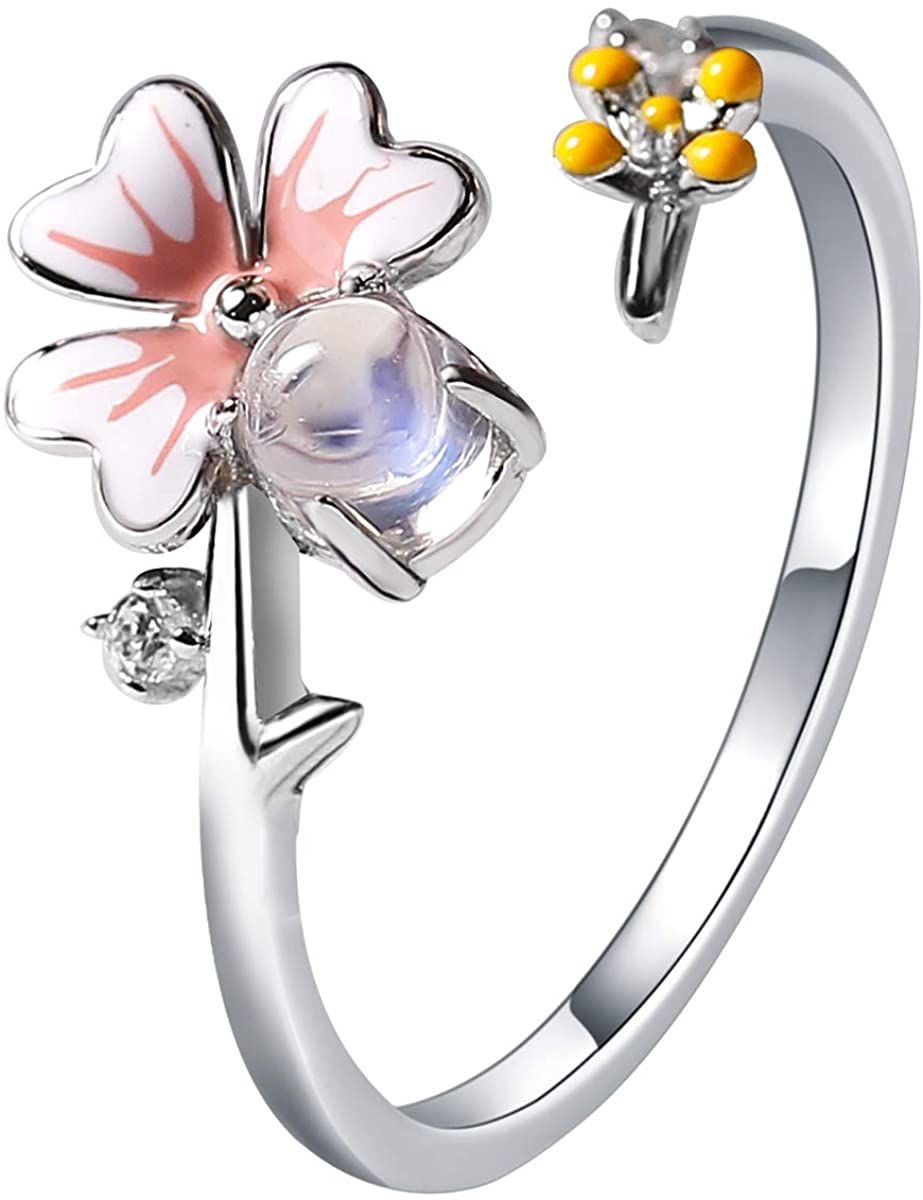 Jewever 925 Sterling Silver Summer Flower ring with Natural Round Shape Moonstone Engagement Ring for Women Size 5-9