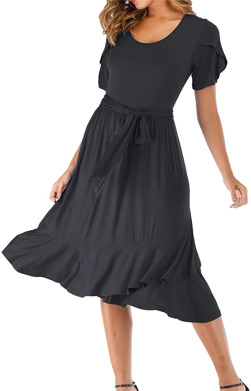 Women's Short Sleeve Plain T-Shirt Dress Ruffle Hem Party Dress Loose Swing Midi Dress with Belt