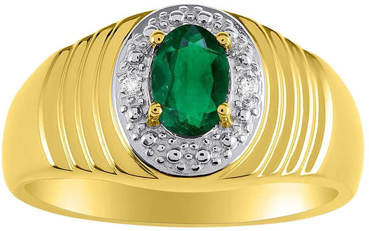 RYLOS Mens Classic Halo Ring with Oval Emerald Gemstone & Genuine Sparkling Diamonds in 14K Yellow Gold Plated Silver .925-7X5MM Color Stone