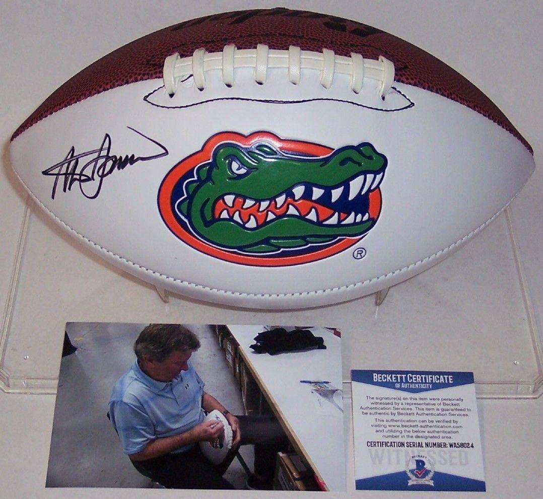 Steve Spurrier Autographed Hand Signed Florida Gators Logo Full Size Football - BAS Beckett Authentication - Beckett Authentication