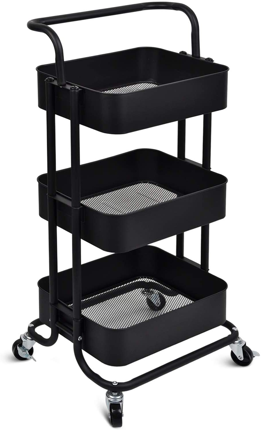 HANKEY Storage cart with Wheels 3 Tier Rolling cart Craft cart with 3 Shelves, Removable Handle, Rust-Resistant, Waterproof, Robust, Easy to Assemble(Black)