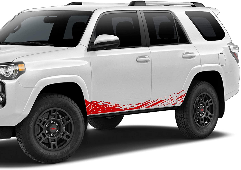 Bubbles Designs Decal Sticker Vinyl Door Lower Splash Compatible with Toyota 4runner n280 2009 – 2020 red
