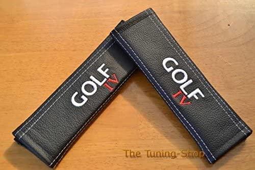 The Tuning-Shop Ltd 2X Seat Belt Covers Pads Shoulder Black Leather Golf Iv Edition For Volkswagen 22Cm X 6Cm