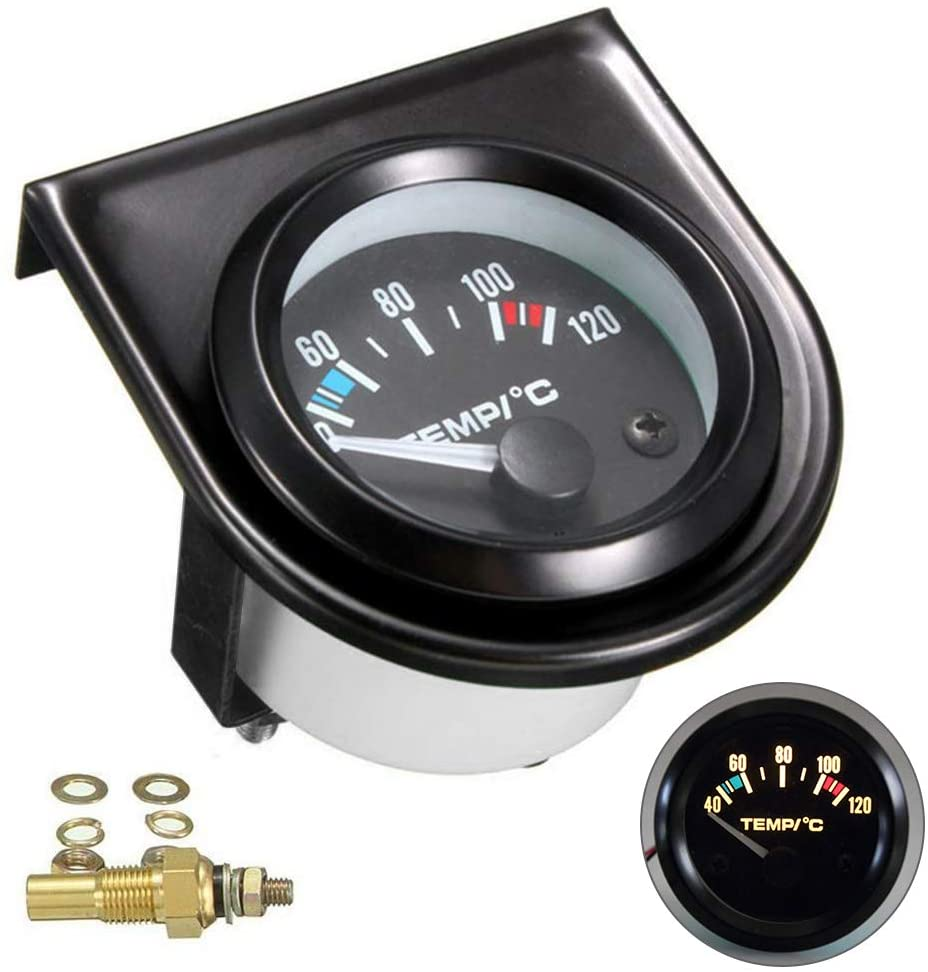Luixxuer Universal Electric Water Temperature Gauge Temp Meter with Backlight for Vehicles 52mm 40-120°C