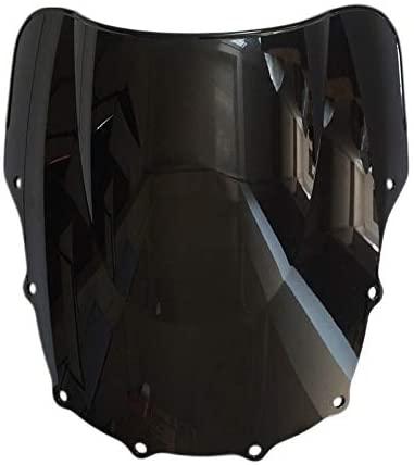 RKRLJX Windscreen Deflector Motorcycle Black Windshield Windscreen Double Bubble Fit for Kawasaki ZZR400 1993-2007 ZZR600 1993-2004