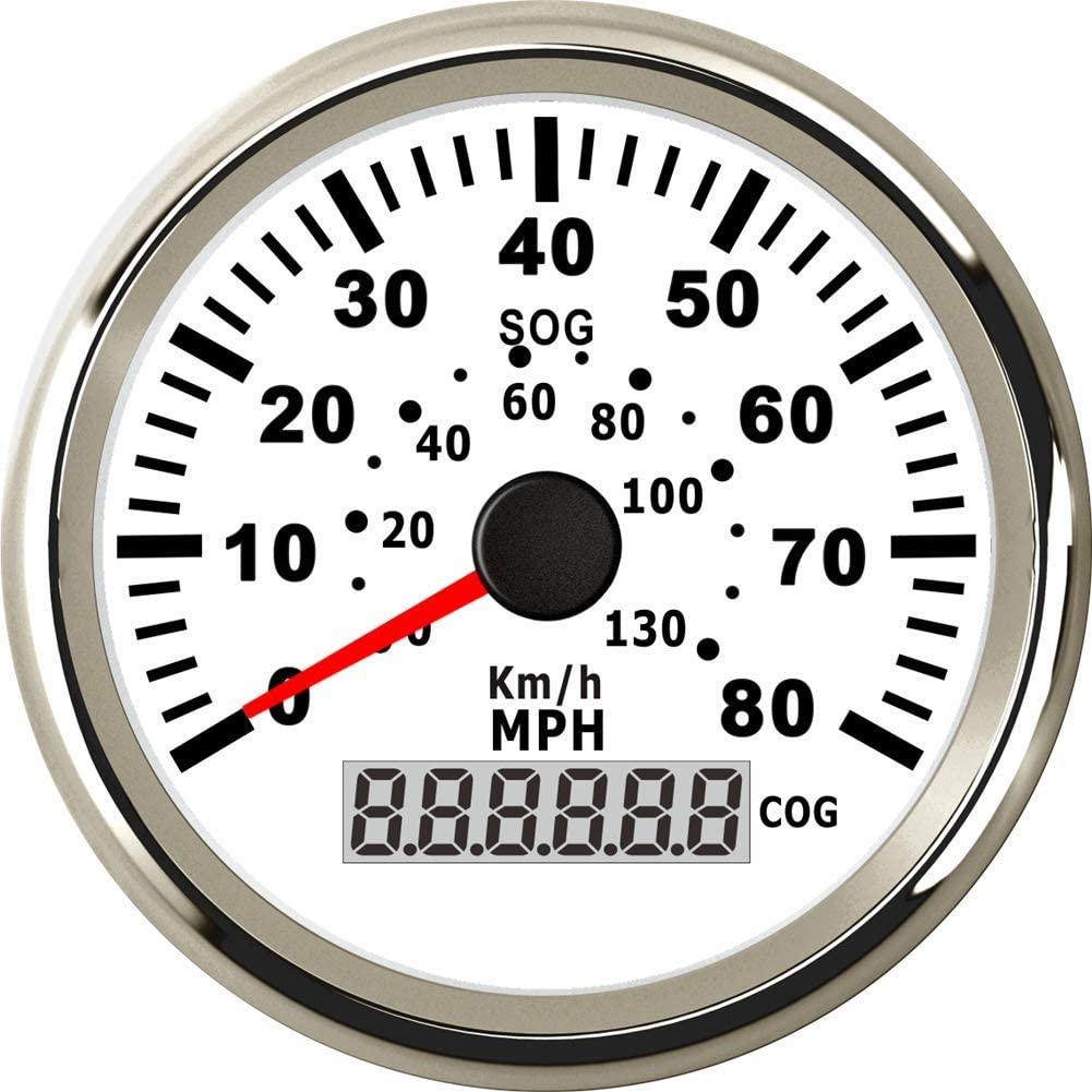 Kadir Koc 1pc GPS Speedometers 0-80MPH Tuning Instruments 0-130km/h Speed Mileometers LCD Display Red Backlight 9-32vdc White