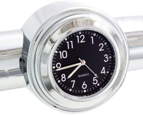 OZ-USA Clock Motorcycle Handlebar Chrome Black Dial Glide Cruiser Fl XL 7/8