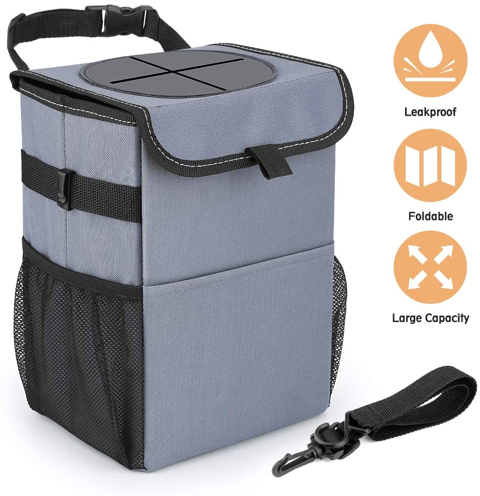 Extractme Car Trash Can, Leak-Proof Car Trash Bag Hanging for Headrest with 3 Storage Pockets, Portable Car Garbage, Can Trash Can with Lid and Car Accessories Organizer for Men and Women